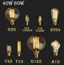 E27 E14 Tornillo 60 / 40W Vintage antiguo estilo Retro luz filamento Edison Bomb