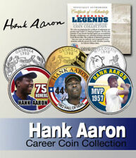 HANK AARON HALL OF FAME MVP HR King Carrière Ensemble Statehood quart 3-coin