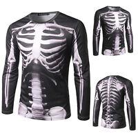 Punk Mens Skeleton Print Hoodies Tops Casual Long Sleeve T-shirt Pullover Jumper