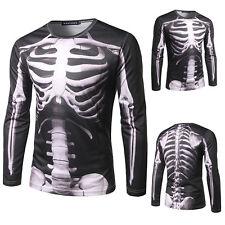 Impresión De Esqueleto Punk para Hombre con Capucha Camiseta Casual Manga Larga T-Shirt Jersey Jumper