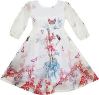 Girls Dress Butterfly Elegant Chinese Plum Flower Bamboo Age 4-10