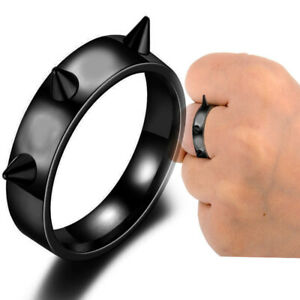 Black Womens Mens Jewelry Rivets Ring Rings Stainless Steel Jewelry size 11
