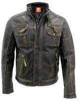 Men's Leather Jacket Genuine Lambskin Motorcycle Vintage Brown Biker Jacket TM12