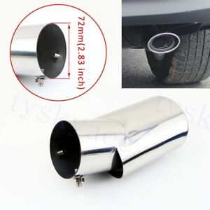 Chrome 2.8 Inch 72mm Diameter Tailpipe For Car Rear Muffler Tail Exhaust Cover