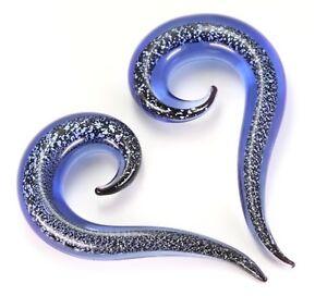 PAIR-Tapers Hangers Pyrex Glass Blue Glitter 10mm/00 Gauge Body Jewelry