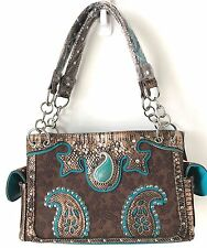 Concealed Carry Gun Handbag Case Western Paisley Turquoise Stone Purse Brown NWT