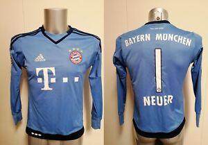 Bayern Munchen 2015 2016 L/S GK shirt adidas Neuer 1 Boys L 164 13-14Y