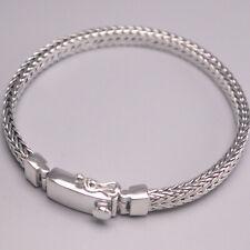 "S925 Sterling Silver Bracelet Unisex Luck Wheat Foxtail Chain 7.87"" 6mmW 32-33g"