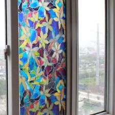 PVC Self Adhesive Waterproof Static Stained Flower Privacy Glass Window Film