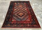 Authentic Hand Knotted Afghan Vintage Zakani Balouch Wool Area Rug 5.0 x 3.5 Ft