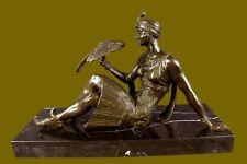 Close OutNouveau Arab Girl Posing with bird Bronze Sculpture Statue Figurine