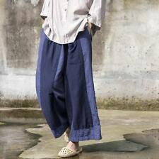 New Womens Linen Cotton Wide Leg Pants Casual Elastic Waist Loose Trousers Retro