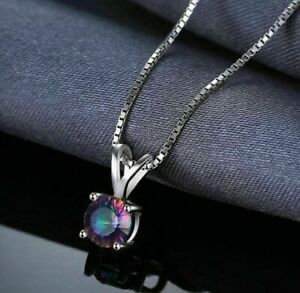Round Cut Mystic Topaz Chain 925 Sterling Silver Pendant Necklace
