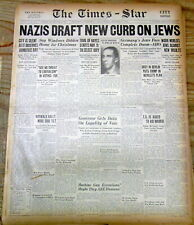 9 1938 newspapers Judaica KRYSTALLNACHT BEGINS w Murder of Jews in NAZI GERMANY