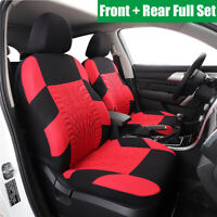 Embroidery  Seat Cover Cushion 5 Seat Front + Rear Full Set Universal Car SUV