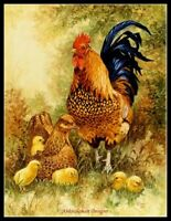 Chicken Family - Chart Counted Cross Stitch Patterns Needlework DIY DMC Color