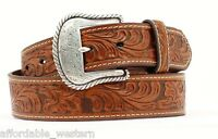 Brown TOOLED Leather ~MAN'S WESTERN BELT~ Silver Buckle Cowboy NOCONA  N2446008