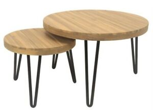 Marquee 2 Piece Timber Nesting Table Set