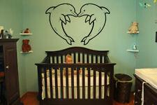 DOLPHIN HEART Wall Vinyl Sticker Room Decal Mural Design Nursery decor bo1580