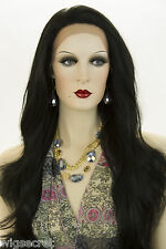 Black Brunette Long Lace Front Wavy Straight Wigs