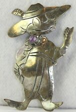RARE VTG TAXCO MEXICAN 980 STERLING SILVER AMETHYST QUARTZ ZOOT SUIT PIN