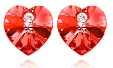Romantico Profondo Rosso Cristallo A Forma Di Cuore Orecchini Perno Borchie E382