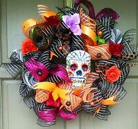 Handmade Halloween Day of the Dead Wreath Deco Mesh Sugar Skull Door Decor