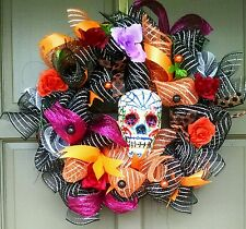 Handmade Halloween Day of the Dead Deco Mesh Wreath Sugar Skull Door Decor