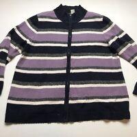 CJ Banks Purple Blue Stripe Zip Front Cardigan Sweater Plus Size 1X A1028