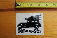 Lost In The 60's Woody Car Longboard Surfboards Clear V6 Vintage Surfing Sticker