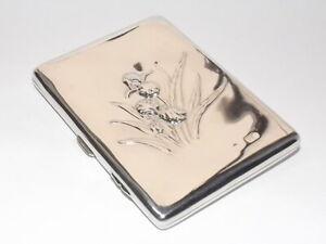 EDWADIAN ART NOUVEAU 116g SOLID SILVER CIGARETTE, CARD CASE, FLOWERS LONDON 1907