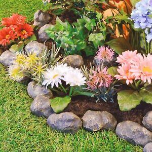 Rock Cobbled Stone Effect Plastic Lawn Edging Garden Plant Flower Bed Border NEW