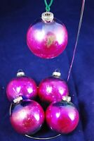 *5* VINTAGE BALL CHRISTMAS ORNAMENTS - SHINY BRITE PURPLE & BLUE MERCURY GLASS