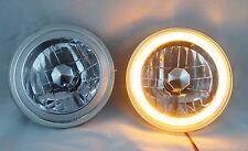 "97-16 Jeep Wrangler TJ JK 7"" AMBER LED CCFL Halo Round Chrome Clear Headlights"