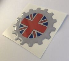 VESPA COG UNION JACK RESIN 3D BADGE .ULMA FALBO VIGANO SCOOTER LAMBRETTA WASP UK