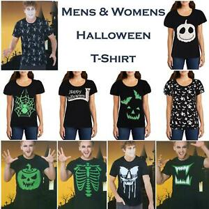 Mens Womens Halloween T-Shirts Glow In The Dark Print Costume Party Tee Shirts