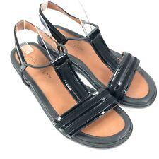 Gentle Souls 'Go On' Womens Sz 9.5 M Black Leather Elastic Ankle Strap Sandals