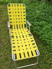 Vintage Yellow Aluminum Reclining Chaise Lounge Lawnchair Webbing