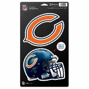 """Chicago Bears NFL Wincraft Football  5"""" x 9"""" Die Cut 2 Pack - (2) 5"""" Magnets"""