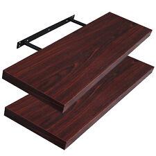 WOLTU® 2x Bücherregal Wandregal Hängeregal MDF 80cm dunkles Holzdekor RG9235dc-2