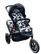Pram liner to fit Phil & Teds doubles kit - Black & white cow print
