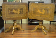 Pair 19th Century Italian Inlaid Walnut Tilt-top Game/Side Tables