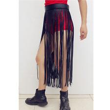 Boho Hula Faux Leather Long Fringe Tassel Skirt Waist Belt Bikini Fringe Skirt