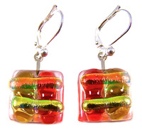 "DICHROIC Glass Earrings Orange Yellow Copper Striped Euro Lever Dangle 1/2"" 15mm"