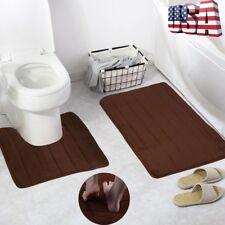Bathroom Memory Foam Mat Toilet Non-slip Bath Rug Contour Pads New 2 in 1 VIP