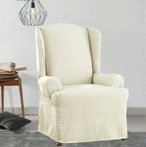 New Sure Fit Ticking Stripe Wing Chair Slipcover dove gray washable one piece