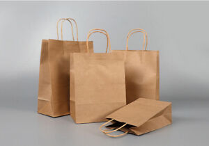 BROWN Paper Party, Gift & Fashion Bags with Twisted Handles Fast Delivery