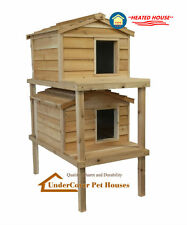 LARGE DOUBLE DECKER HEATED INSULATED CEDAR CAT HOUSE SHELTER