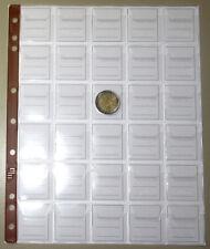 FOGLI per MONETE da 30 CASELLE inserto UNI masterphil PACCO 10 FOGLI pagine