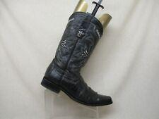 Los Altos Black All Leather Ostrich Leg Cowboy Western Boots Mens Size 9.5 EE